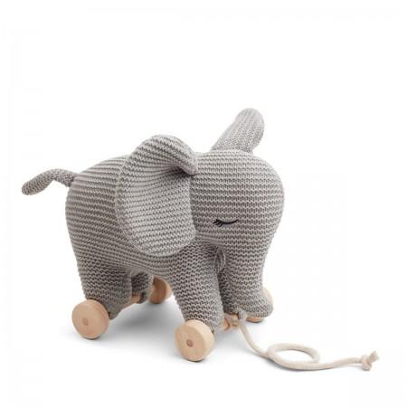 Elephant à roulette gris