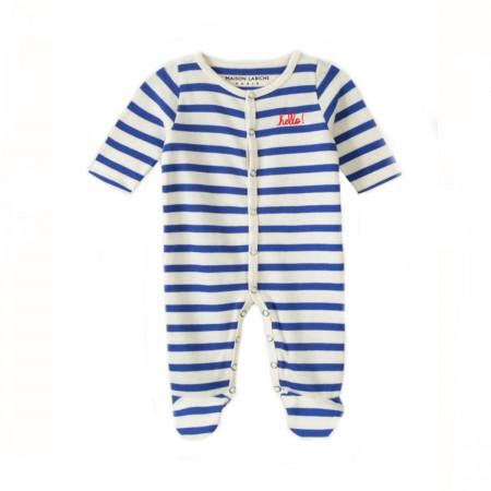 "Pyjama marinière ""Hello"" bleu"