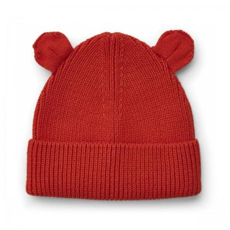 """Bonnet """"Gina"""" coton bio rouge"""