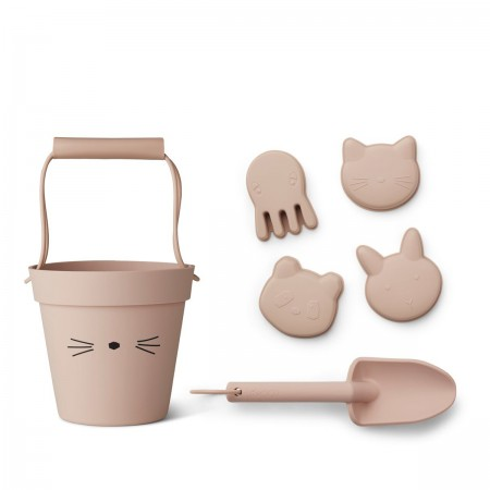 Set seau de plage Chat rose
