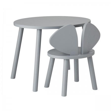 """Bureau et chaise """"Mousse"""" gris"""