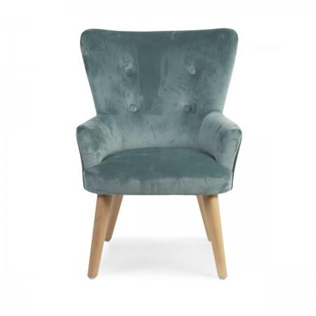 Petit fauteuil velours vert