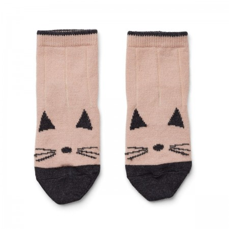 Chaussettes laine Chat rose