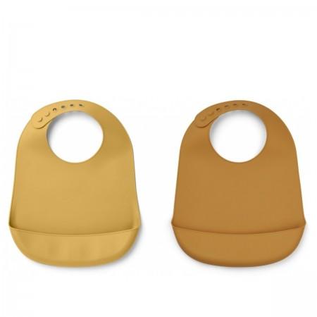 2 bavoirs silicone jaune et...