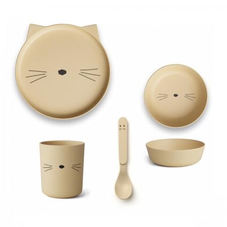 Set repas bambou chat jaune