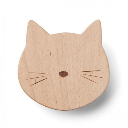 Patère chat en bois