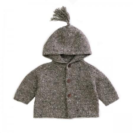 Veste tricotée en laine grise
